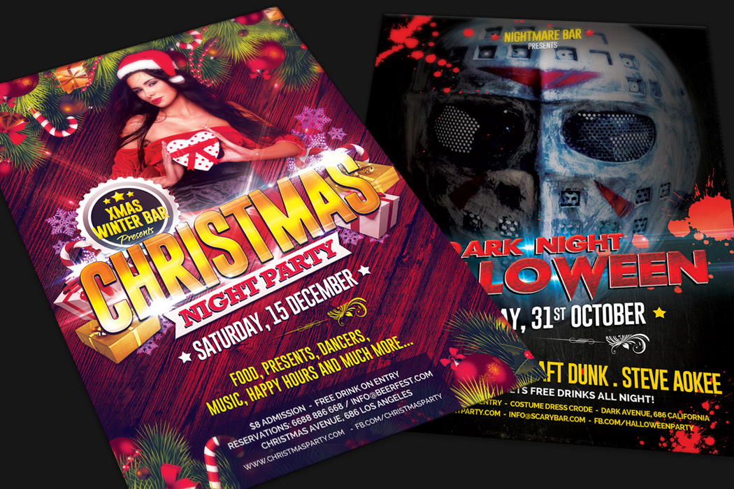Christmas and Halloween Party Flyer Design